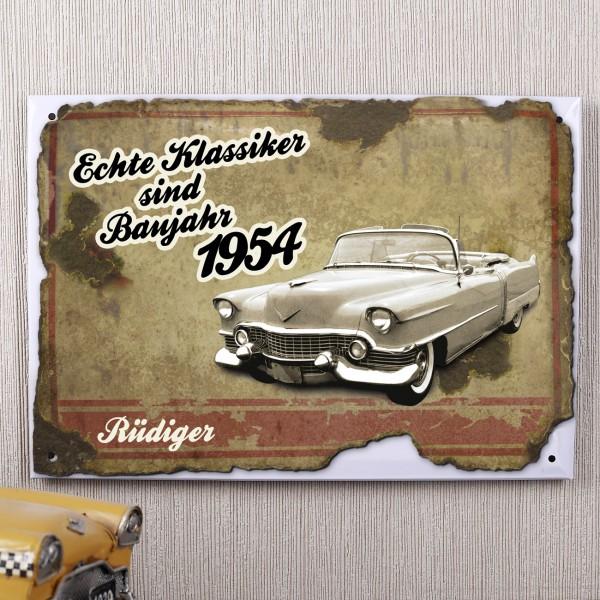 Autoklassiker Blechschild 1954 mit Vornamen personalisiert