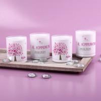 Teelichter im 4er Set mit rosafarbenem Lebensbaum