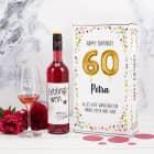 Happy Birthday 60 - Lieblingswein-Geschenkset mit Weinglas in Geschenkbox