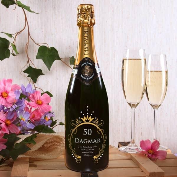 Champagnerflasche zum Geburtstag mit Gravur in Gold und Silber und SWAROVSKI® ELEMENTS Strassteinen