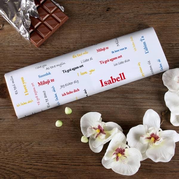 300g Schokolade mit Namen -ich liebe dich-