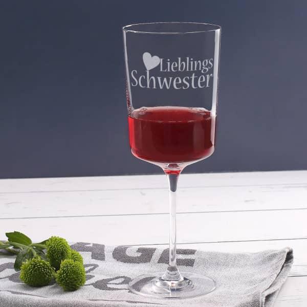 Hübsches Weinglas für Ihre Lieblings Schwester