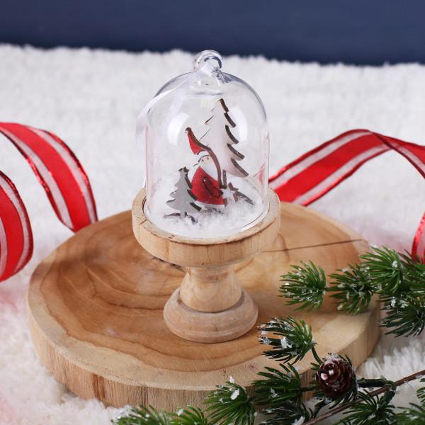 Weihnachtsmann Glasglocke mit Holzständer