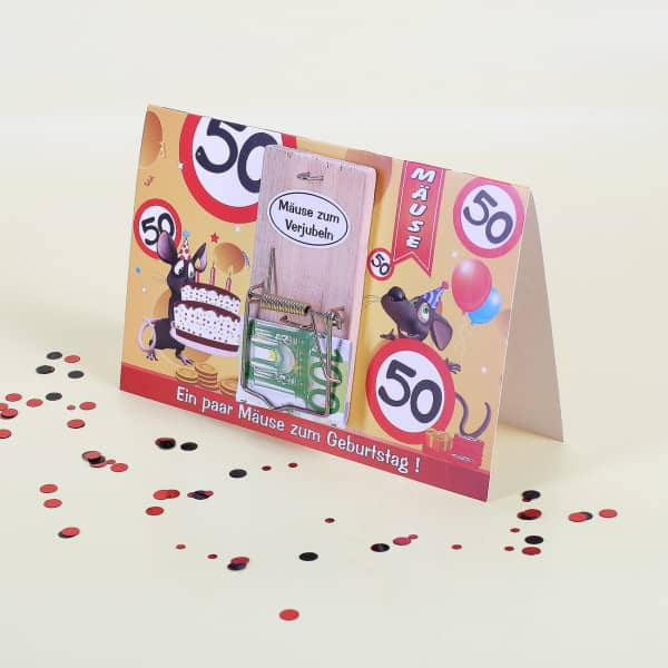 Geburtstagskarte zum 50. mit Mausefalle