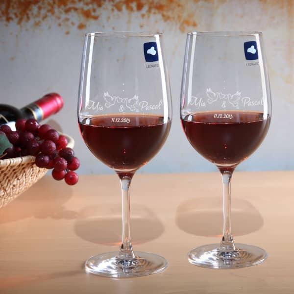 Weinglasset mit Namen zur Hochzeit