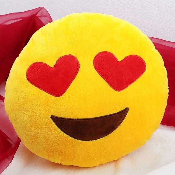 Verliebtes Smiley-Kissen mit Herzaugen