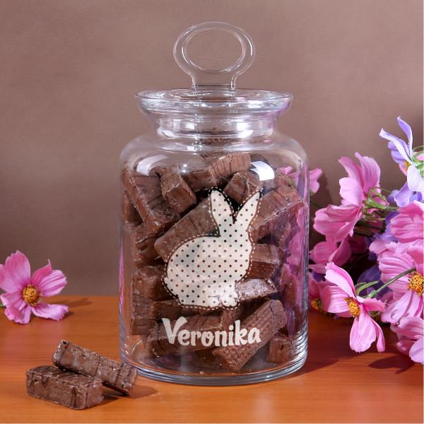 Mit Name und Osterhasen gravierte Glasdose mit Glasdeckel für Süßigkeiten