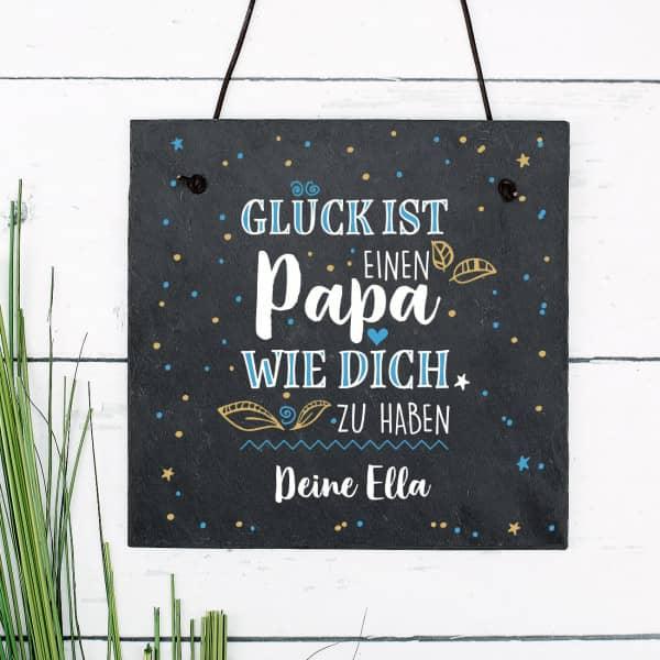Schiefertafel zum Vatertag - Glück ist, einen Papa wie dich zu haben