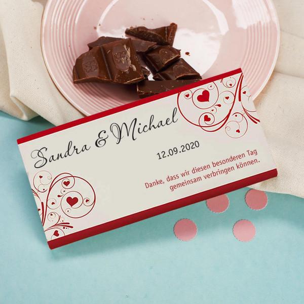 100g Vollmilchschokolade Als Gastgeschenke Zur Hochzeit Mit Ihren Namen Datum Wunschtext