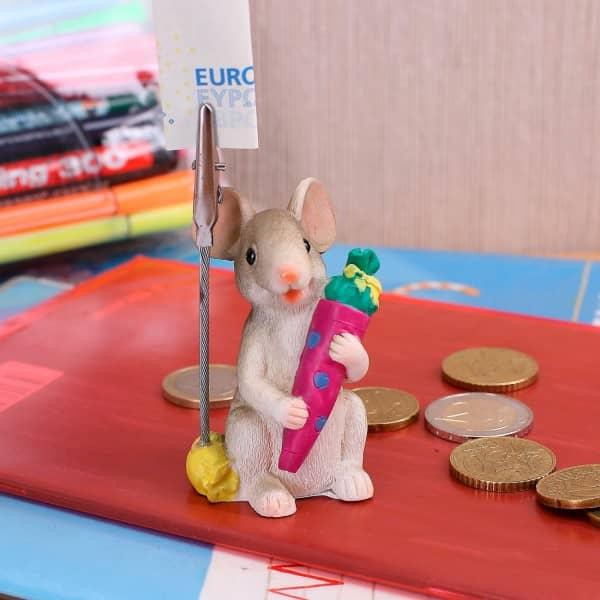 stehende Maus mit Schultüte und Geldclip *pink*