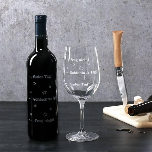 Stimmungsbarometer - Set mit Weinflasche und Weinglas
