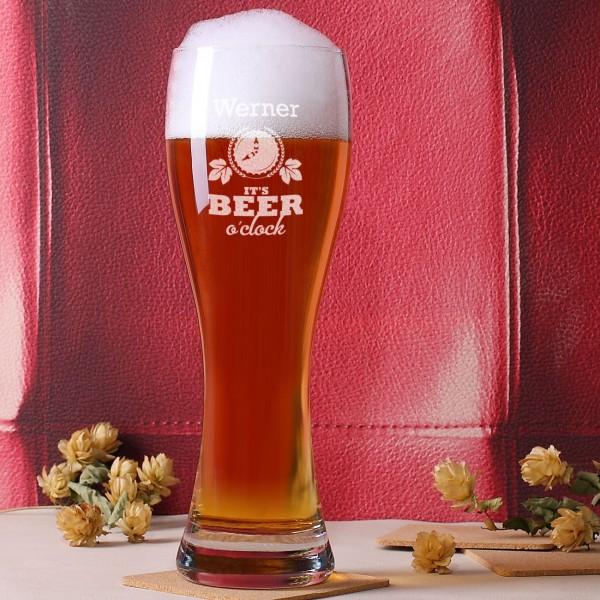 Weizenbierglas Beer o'clock mit Namensgravur