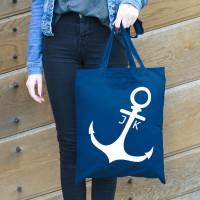 Blaue Einkaufstasche mit Anker und Initialen