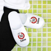 Frottee Pantoffeln mit Achtung Alter - Verkehrszeichen zum Geburtstag