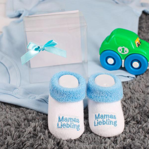 Babys erste Söckchen Mamas Liebling in blau