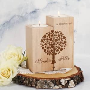 Teelichthalter zur Hochzeit mit Namen