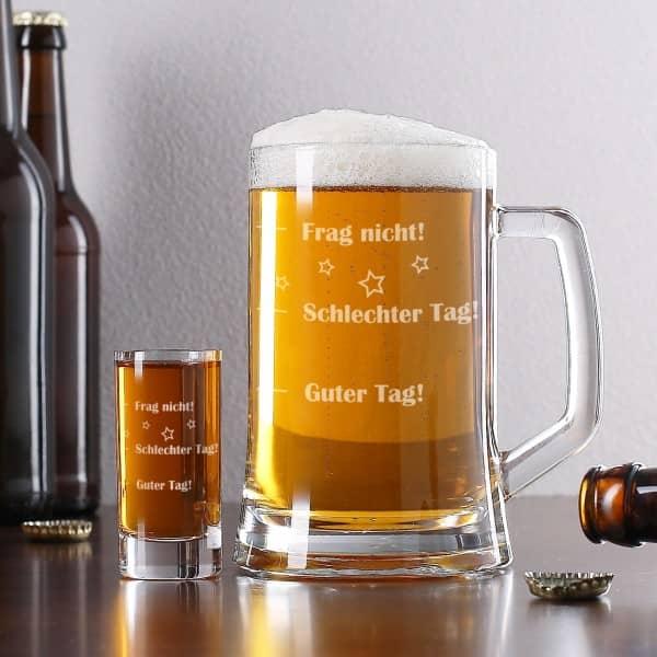 Bierseidel und Schnapsglas mit Stimmungsbarometer