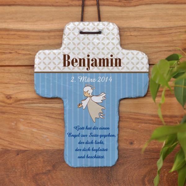 Schutzengel Schieferkreuz mit Name und Segenswunsch für Jungen