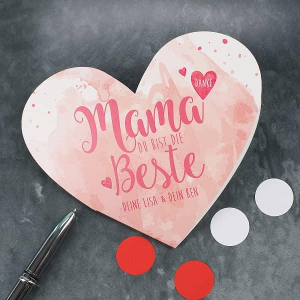 """Herzkarte """"Mama Du bist die Beste"""" mit Wunschtext"""