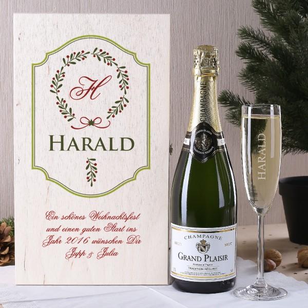 Champagner Geschenkset aus Glas und Flasche