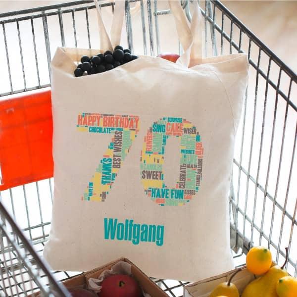 Baumwoll Beutel zum 70. Geburtstag mit Wunschnamen