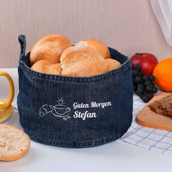 Brotkorb aus Jeans mit Wunschnamen und Frühstücks-Motiv