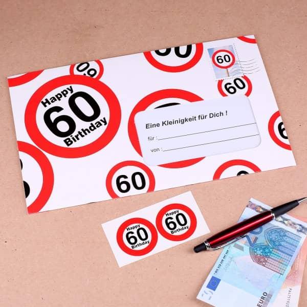 Geldgeschenk mit Verkehrszeichenmotiv zum 60. Geburtstag