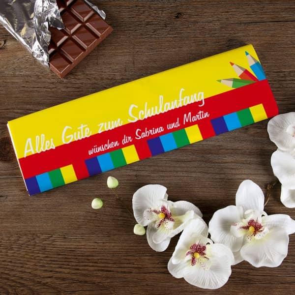 300g Schokolade zur Einschulung mit Ihren Wunschtext