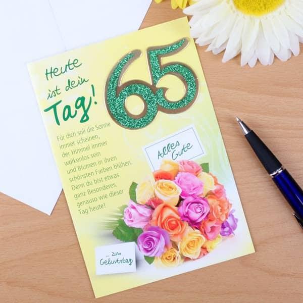 Karte zum 65. Geburtstag