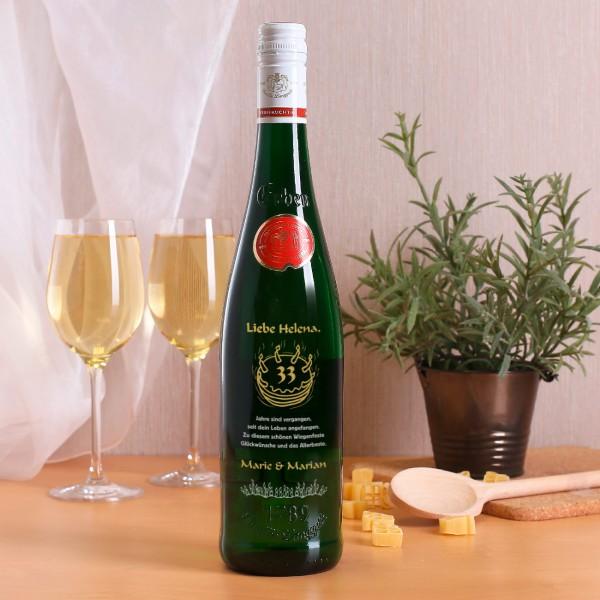 Personalisierte Weinflasche zum Geburtstag, Torten-Motiv