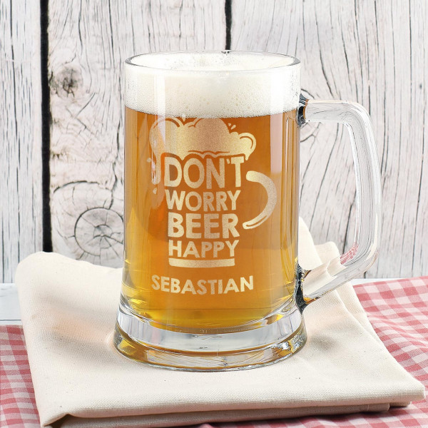 Gravierter Bierseidel DON`T WORRY BEER HAPPY mit Wunschname