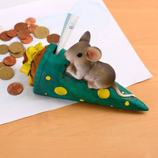 Spardose Maus auf Schultüte *grün*
