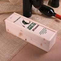 Holz Flaschenverpackung bedruckt mit Name, Wunschtext und Angler-Motiv