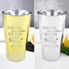 Trinkglas in Gold mit Spruch graviert zum Valentinstag