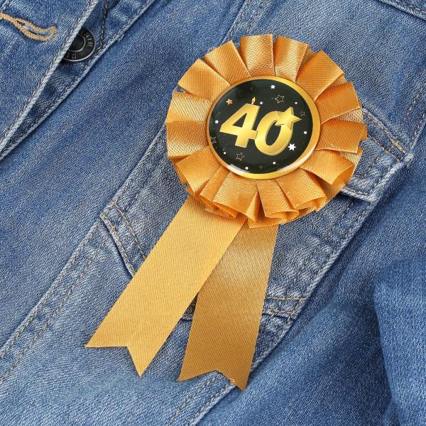 Rosette in gold zum 40. Geburtstag