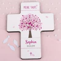 Bedrucktes Kreuz zur Taufe - Lebensbaum - in rosa