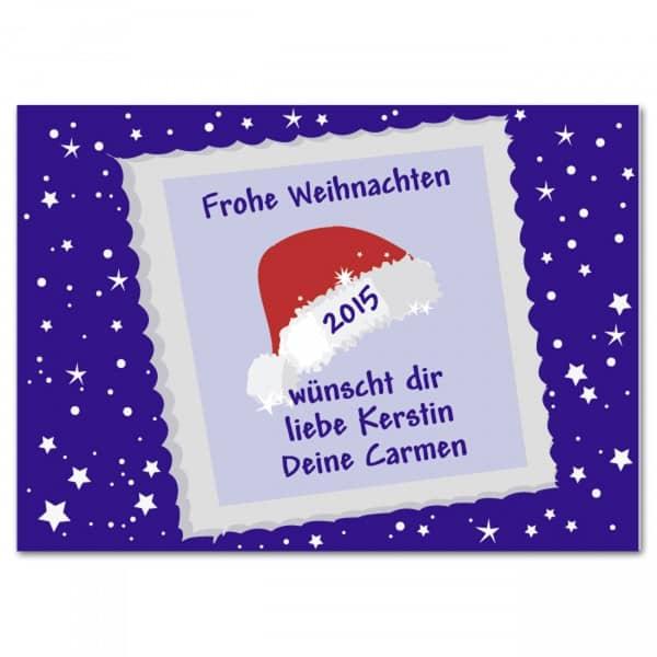 Weihnachtliche Botschaft (Postkarte) Nikolausmütze
