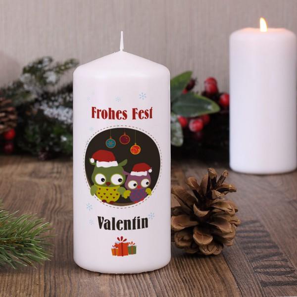 Kerze zum Weihnachtsfest mit Eulen und Wunschtext