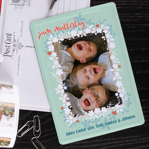 Blech-Postkarte zum Muttertag mit Ihrem Foto un...