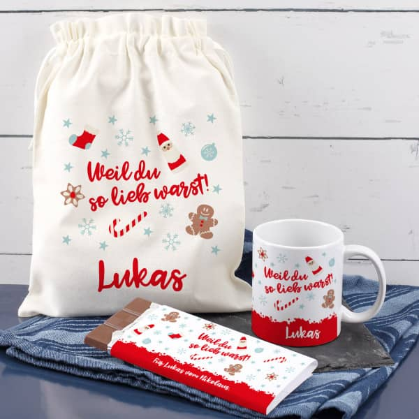 Nikolaus Geschenkset Weil du so lieb warst mit Tasse, Schokolade und Baum...