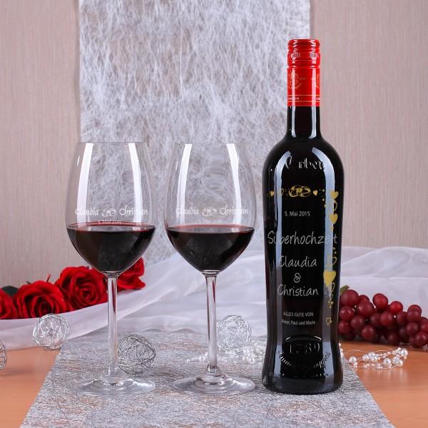 Personalisiertes Weinset zur Selberhochzeit mit Gravur