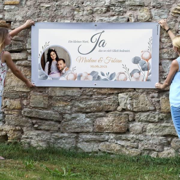 Foto Hochzeitsbanner mit Eukalyptus und Baumwollblüten Motiv