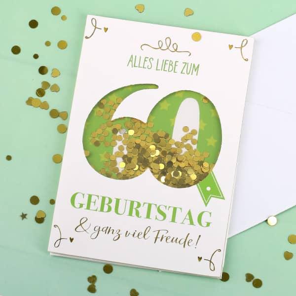 Konfetti-Schüttel-Karte Alles Gute zum 60. Geburtstag