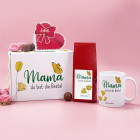 Geschenkset zum Muttertag - Mama mit Wunschtext, Schmetterling und Blumen