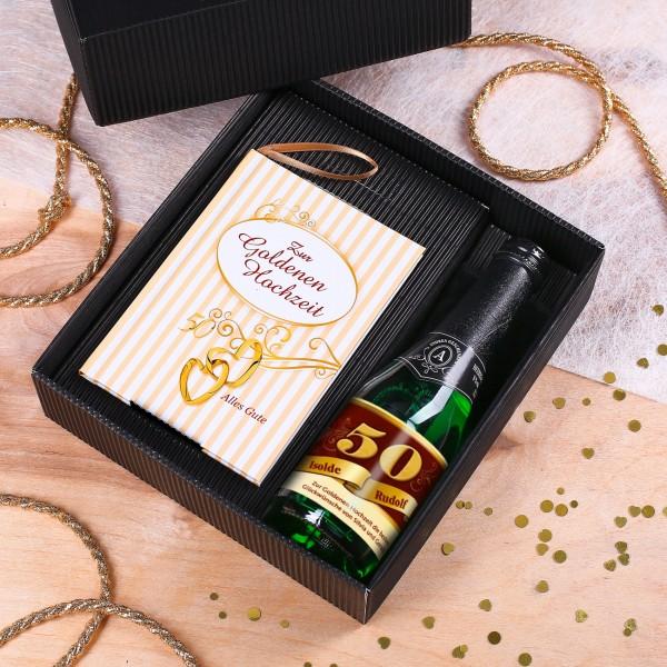Geschenkset zur Silberhochzeit mit Buch und Schaumwein