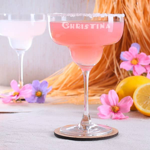 Margaritaglas mit Namensgravur
