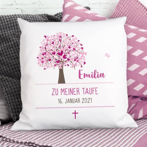 Kissen mit Lebensbaum in rosa, Name, Datum und Wunschtext
