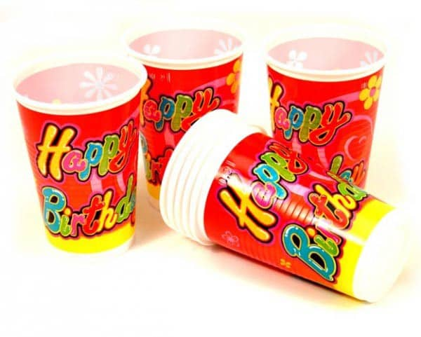 Party Becher Happy Birthday im 70er Design