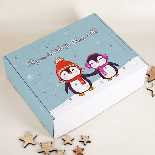 Pinguin Adventskalender zum selber Füllen mit Wunschtext