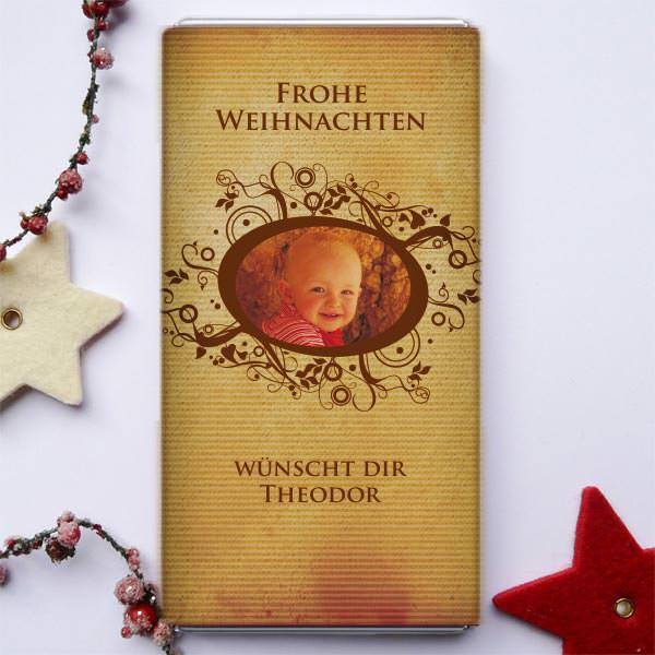 Weihnachtliche Schokoladenpost mit Ihrem Foto 5er Set
